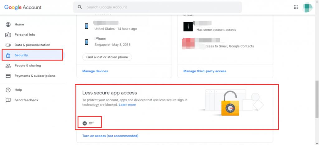 less secure app access